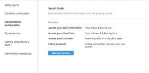 revocar acceso a aplicaciones en instagram